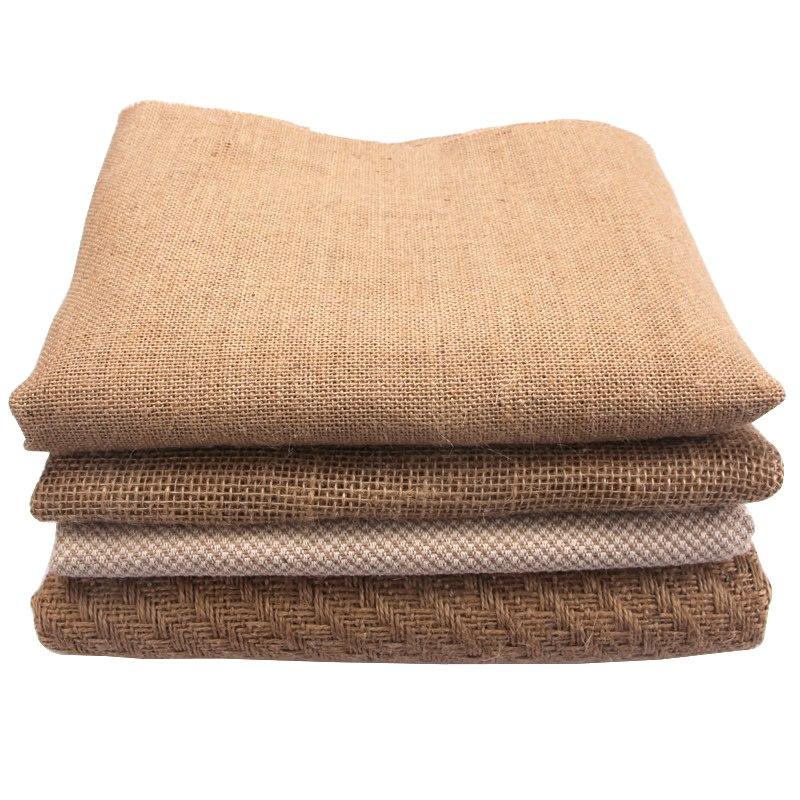 Tela de malla de yute textil de medio metro para bolsas de cortina manteles decoración de boda arpillera Tela de yute Natural tapetes Tela 1