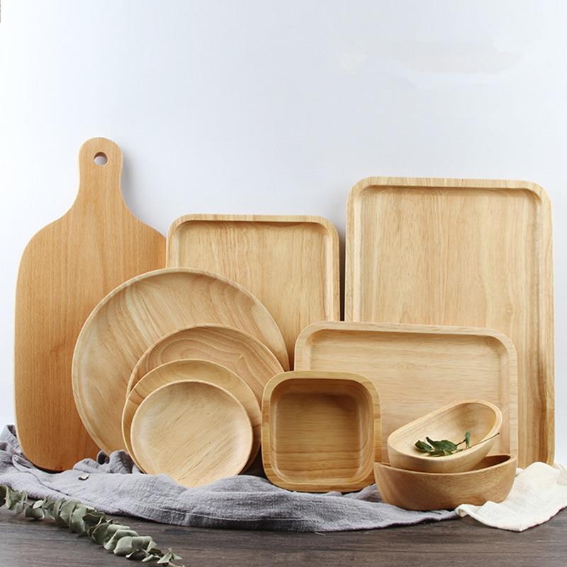 Bandejas para servir de madera para fiesta/Hotel/plato de comida casera vajilla bandeja de madera de goma para aperitivos leche de fruta ronda Suqare