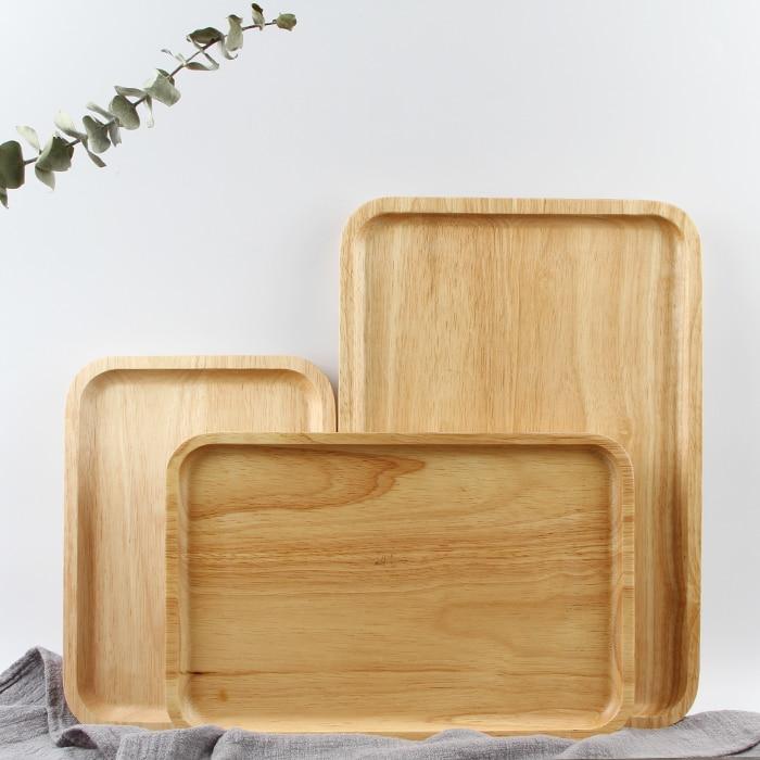 Bandejas para servir de madera para fiesta/Hotel/plato de comida casera vajilla bandeja de madera de goma para aperitivos leche de fruta ronda Suqare 4