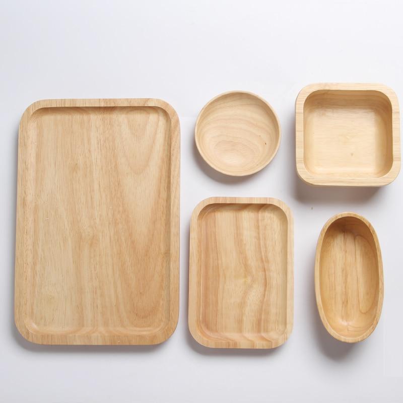 Bandejas para servir de madera para fiesta/Hotel/plato de comida casera vajilla bandeja de madera de goma para aperitivos leche de fruta ronda Suqare 3